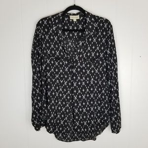 Cloth and Stone Black White Kasuri Button Down Top